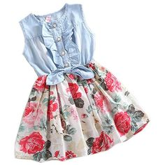 Baby Girls Child Princess Party Dress Clothes Kid Summer Denim Jeans... (8.66 CAD) ❤ liked on Polyvore