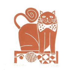 Black Cat Print Whimsical Cat Art Linocut by TheBluebirdGallery