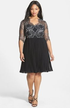 Adrianna Papell Lace Overlay Pleated Cocktail Dress (Plus Size)  60e368e89248