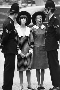 Melanie Hampshire and Jill Kennington wearing Mary Quant. Photographed by Norman Parkinson, 1963 (I wonder what was going on here... The looks on their faces are priceless)