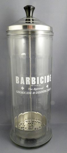 Vintage Glass Barber Shop tool Sanitizer by dantiquenutt on Etsy, $19.50