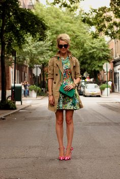 trench coat with printed dress