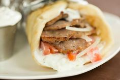 Greek Lamb Gyros with Tzatziki Sauce - homemade gyro meat. It's kind of like meat biscotti! Lamb Recipes, Greek Recipes, Cooking Recipes, Cookbook Recipes, Lamb Gyro Recipe, Greek Gyros, Greek Pita, Lamb Gyros, Gyro Meat