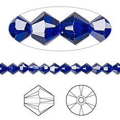 Bead, Swarovski crystal, Crystal Passions®, cobalt, 4mm Xilion bicone (5328). Sold per pkg of 48.