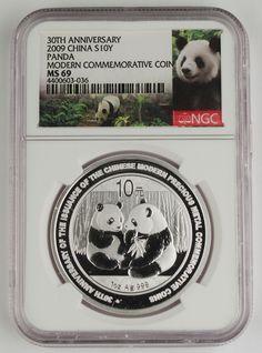 China 2009 10 Yuan 1 Oz Silver Coin 30th Anniversary of Panda Program NGC MS69