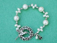 White Pearl Bracelet Hummingbird Fine Silver by expressyourself,