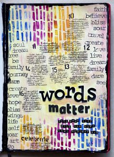 it says: words matter. fill your life with the ones that empower you.  and here's what the page looks like with all the gratitudes and cel...