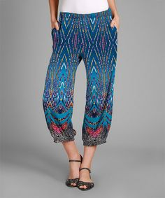 This Blue & Pink Abstract Harem Pants - Plus is perfect! #zulilyfinds
