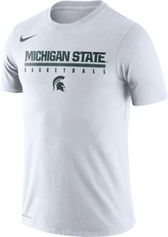 2297584c1 Nike Men's Michigan State Spartans Dri-FIT Practice Basketball White T-Shirt
