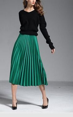 c5c06e8f5934b Green metallic midi knee length A-line pleated skirt autumn fall winter  metalic black top