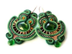 rain forest   soutache earrings  free shipping by KimimilaArt