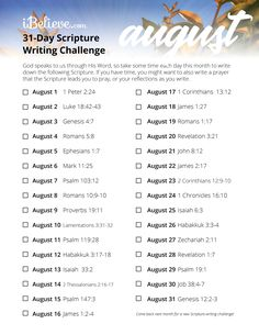 August Scripture Writing Guide - Daily Scripture Reading Plan