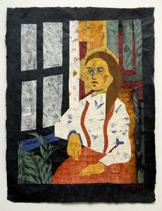 "Natasha Metaxa ""Seating at the window,collage with handmade paper,   51x38cm"