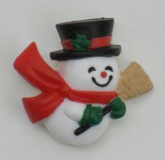 Vintage Hallmark Christmas pin, brooch, snowman, top hat, scarf, broom, holly, cute, holiday by EmzTreasurz on Etsy