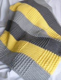 Crochet Gray Yellow Blanket (Double crochet and sedge stitch? I love the colors and textures: Crochet Gray Yellow Baby Blanket Phillips-Barton Newnham love the patchwork effect of color changes + stitch texture changes without having to piece everything t Crochet Blanket Patterns, Baby Blanket Crochet, Crochet Stitches, Crochet Baby, Knit Crochet, Knitting Patterns, Double Crochet, Free Crochet, Bunny Blanket