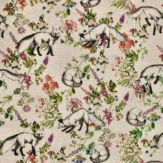 Botanical Fox Linen Look Canvas Fabric Linen Fabric, Canvas Fabric, Pastel Colors, Colours, Flower Curtain, Photo Processing, Fox Print, Printed Linen, Gifts For Mum