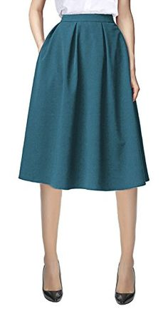 Urban CoCo Women's Flared A line Skirt Pleated Midi Skirt with Pockets (L, Steel blue)  Special Offer: $18.98  277 Reviews Size chart: S:Waist:26.7inch~Length:27.5inch M:Waist:29.1inch~Length:28.3inch L:Waist:31.5inch~Length:29.1inch XL:Waist:33.8inch~Length:29.5inchFeatures:...