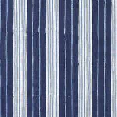 John Robshaw Textiles - Vintage Stripe Indigo - Blockprinted Linens - Fabric