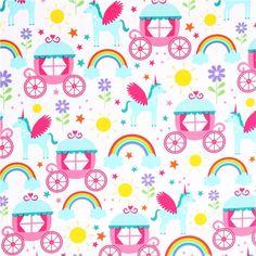 unicorn fairy tale fabric Michael Miller Enchanted Castles 2
