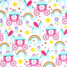 unicorn fairy tale fabric Michael Miller Enchanted Castles 2
