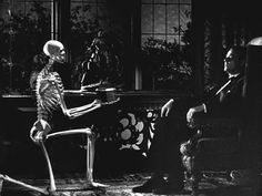 He's demonstrating his powers by materializing a skeleton for all the guests