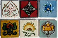 """Small selection of 3""""x 3"""" Art Nouveau tiles from the book """"Art Nouveau Tiles with more Style""""."""