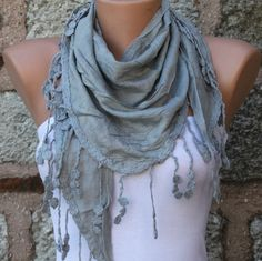 Gray  Shawl Scarf  Headband Necklace Cowl by fatwoman on Etsy, $17.00