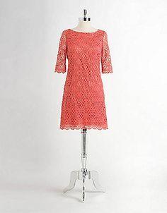 Elbow-Sleeved Crochet Dress from Jax! #lordandtaylor