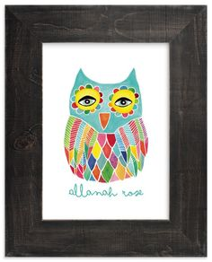 """Watercolor Rainbow Owl"" - Children's Custom Art Print by Pip Gerard in…"