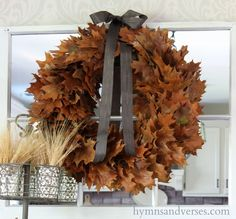 This is a super easy fall wreath that you can make in about an hour - but it makes a big statement when finished! All you need are some fallen leaves from your…