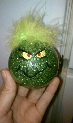 Grinch ornament or make out of green craft paper with glitter.
