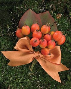 Rose hips and eucalyptus leaves gathered with satin ribbon, its ends notched.
