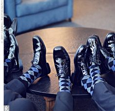 the groomsmen black-and-blue argyle socks to wear at the wedding. They added a bright pop of color to the guys' looks. Groom Socks, Groomsmen Socks, Groom And Groomsmen, Boys Socks, Fun Socks, Awesome Socks, Men's Socks, Wedding Trends, Wedding Ideas