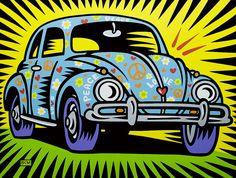 "The Art of Burton Morris Sept. The Art of Burton Morris"" exhibit: Rotulação Vintage, Burton Morris, Desenho Pop Art, Volkswagen, Retro, Pop Art Movement, Indian Folk Art, Arte Pop, Car Painting"