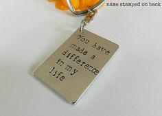 Unique Thank you gift, Teacher volunteer nurse appreciation, Personalized hand stamped keychain