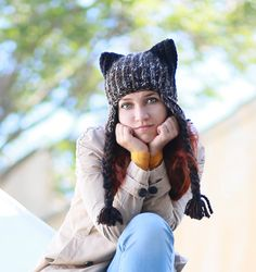 Braided Ear Flap Cat Hat Winter Black Unisex Adult Hat with fox ears Chunky Crochet Baggy Beanie gift ideas Romantic animal fashion earflap by ThingsFromShela on Etsy