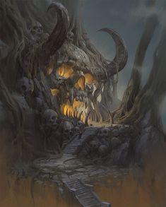 skeleton dungeon gate, Ast Ralf on ArtStation at https://www.artstation.com/artwork/BGq5k