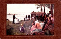 Kuva albumissa ALBERT EDELFELT - Google Kuvat.  Jumalanpalvelus Uudenmaan saaristossa.