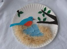 Preschool Crafts for Kids*: Spring Bird's Nest Paper Plate Craft Kids Crafts, Spring Crafts For Kids, Summer Crafts, Easter Crafts, Art For Kids, Craft Projects, Arts And Crafts, Craft Ideas, Paper Plate Art