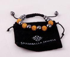 Браслет Шамбала с глянцевыми и оранжевыми бусинами со стразами #19880