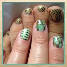My new Jamicure! Birds of a Feather with Mint Green & Horizontal Stripe statement nail!   Toes are Gold Crisscross and have been on for almost 5 weeks! They still look Jamazing!  www.ericahicks.jamberrynails.net