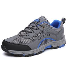 28.82$  Buy now - http://ali2bw.shopchina.info/1/go.php?t=32793097443 - 2017 Hiking Shoes Men Walking Shoes Spring Summer Mesh Breathable Mountain Boots Gray/Blue Mens Outdoor Breathable Athletic Shoe 28.82$ #aliexpressideas
