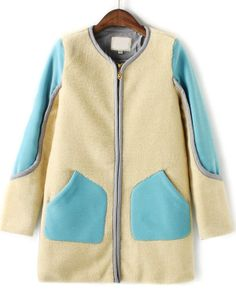 Blue Contrast Pink Long Sleeve Pockets Coat GBP£30.10