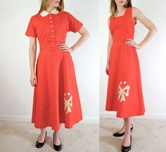 Dress Vintage Day Dress Peter Pan by jessjamesjake 1940s Dresses, Cotton Dresses, Day Dresses, Dress Vintage, Vintage Outfits, Dress Makeover, Capsule Wardrobe, Wardrobe Ideas, Peter Pan Collar Dress