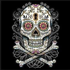 Floral Sugar Skull Day Of The Dead T SHIRT, Sweatshirt, Quilt Fabric Block Item…