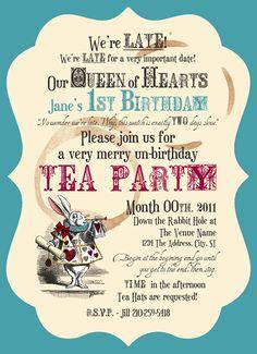 Mad Tea Party - Printable Birthday Party Invitations (Digital File). $15.00, via Etsy.