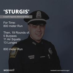 """""""Sturgis"""" WOD - For Time: 800 meter Run; Then, 19 Rounds of:; 800 meter Run Fo - Crossfit Body, Crossfit Workouts At Home, Strength Training Workouts, Burpees, Air Squats, 300 Workout, Track Workout, Squat Workout, Military Workout"""