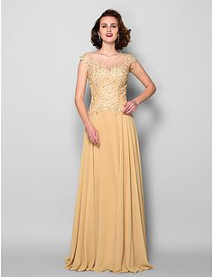 A-line Jewel Sweep/Brush Train Chiffon Mother of the Bride Dress (1798952) – USD $ 109.99