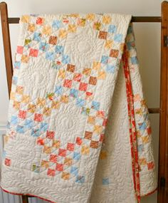 Double Irish chain quilt in Fig Tree fabrics - handquilted, from: madebymum: My Double Irish chain is Done !!!!!!!!