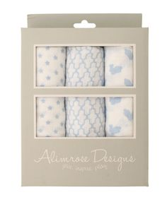Alimrose 100% Cotton Muslin Set - Star/Mosaic/Bunny Blue - Ultra soft pre washed muslin wraps in beautiful box. The perfect newborn gift!